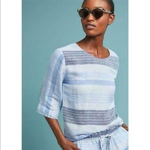 Anthropologie Cloth & Stone Textured Stripe Top L